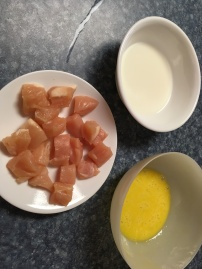 Milk and eggs in bowls